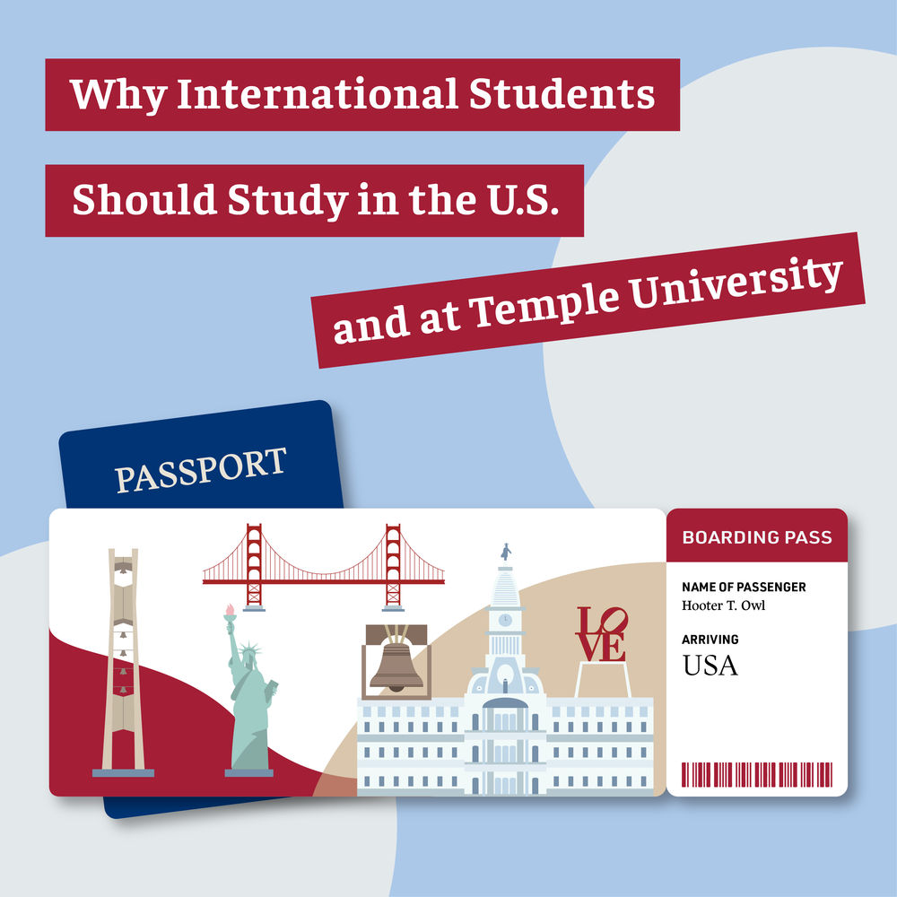 Graphic shows a mock passport with images of Temple and Philadelphia landmarks.